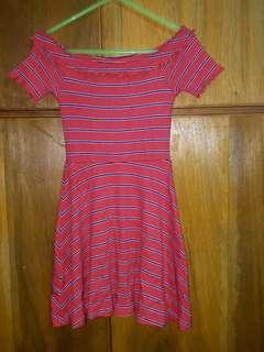 Tangerine off shoulder stretchable dress