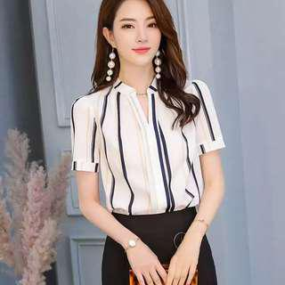 Short sleeve striped formal top