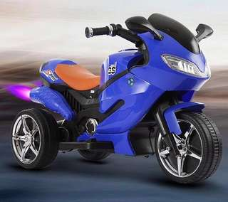 New GS 3 Wheel Blue Rechargeable Motorcycle Ride On Car Big Bike