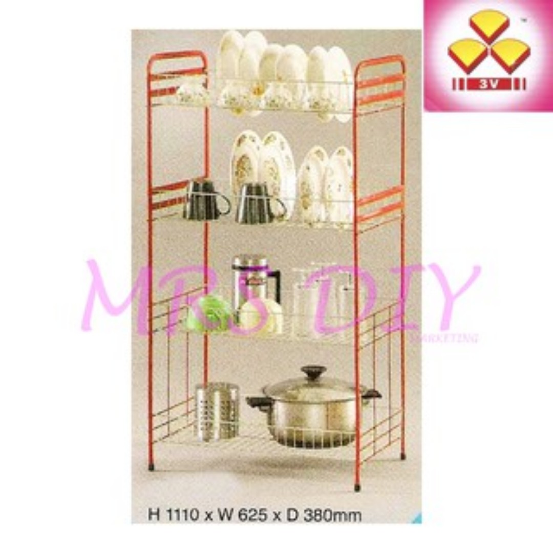 3v Plate Rack Rak Pinggan Mangkuk Dish Kitchen Liances On Carou
