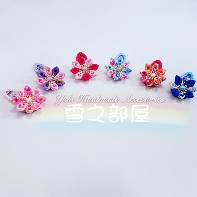 日系甜美幻彩8瓣螺旋和風花啪啪髮夾