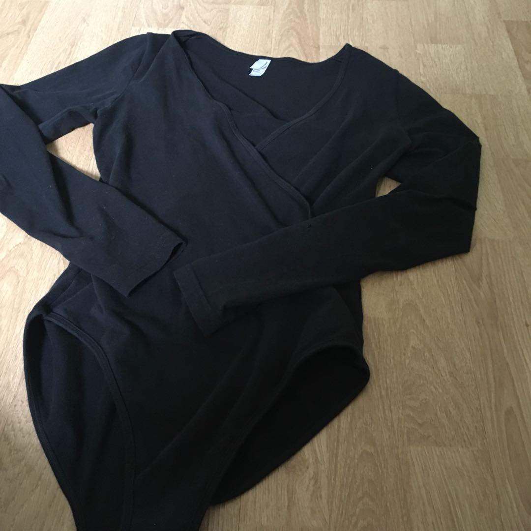AA American apparel wrap black bodysuit