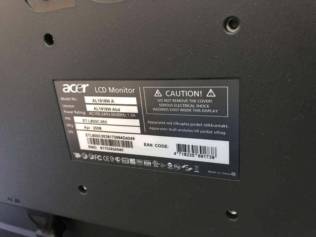 Acer 19吋 電腦屏幕monitor 連電源線及附送普通monitor 線一條
