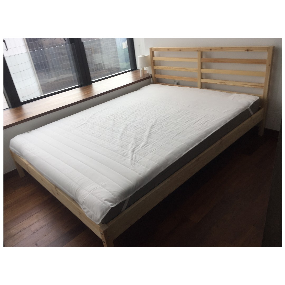 Almost New Ikea Queen Size Bed Frame Mattress For Furniture Beds Mattresses On Carou