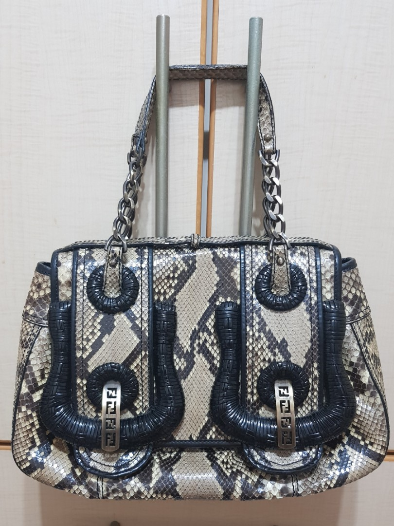 9e148ca878 Authentic FENDI Beige Black Python Patent Leather B Bag, Luxury ...