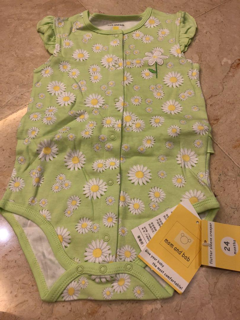 Baby Girl Pretty Green Romper with flutter