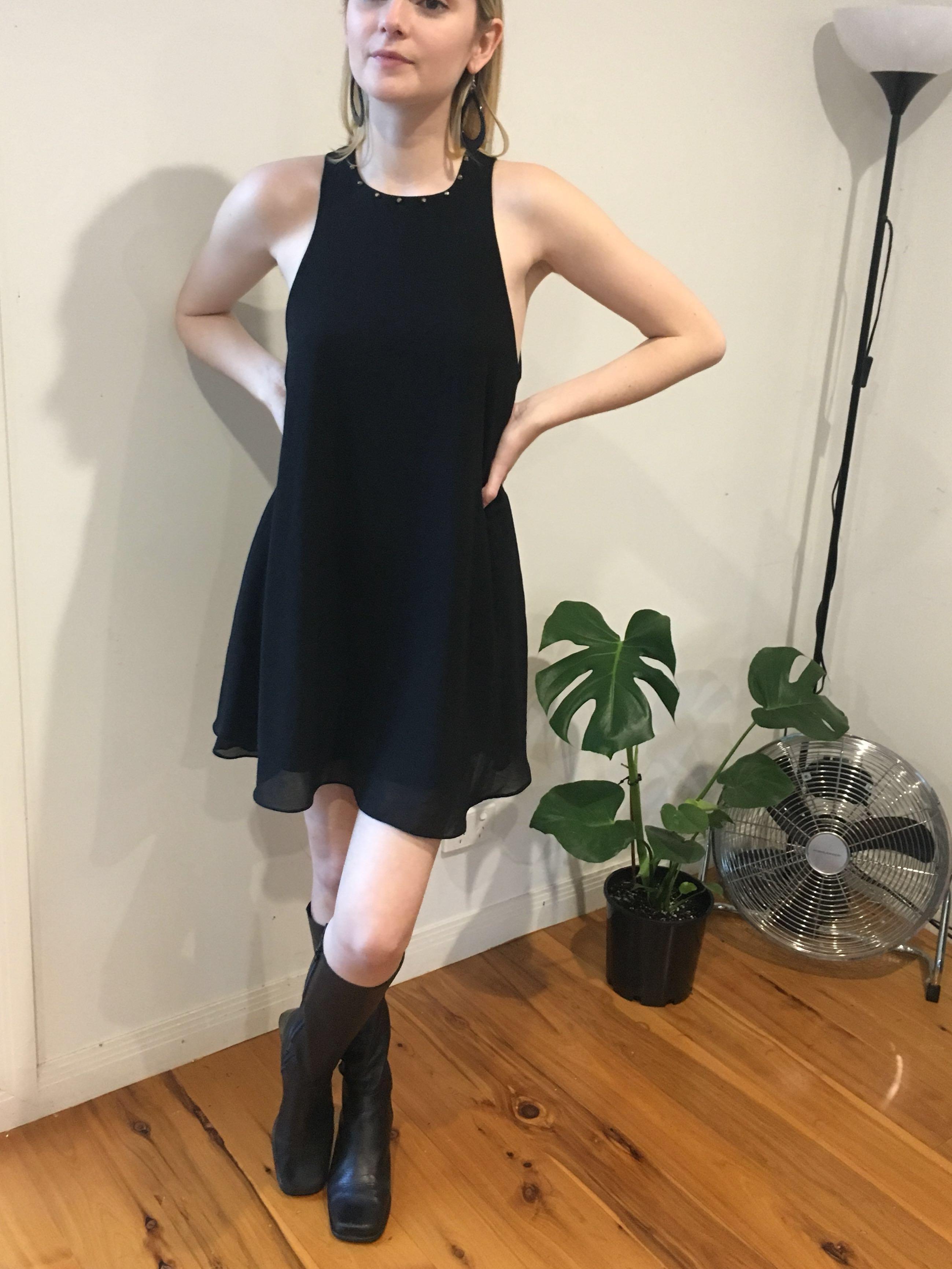 🍋Black Shift Dress 60s Style