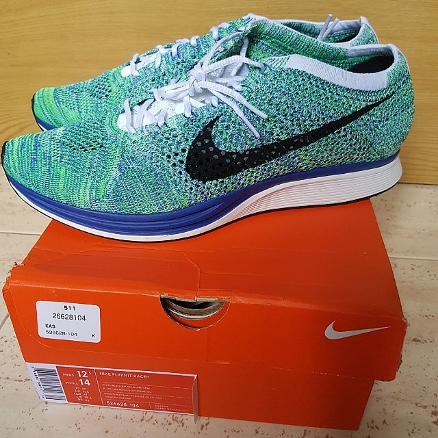 newest b18ec 8da16 LAST PAIR   Clearance Sale  Nike Flyknit Racer  Royal Green , Men s ...