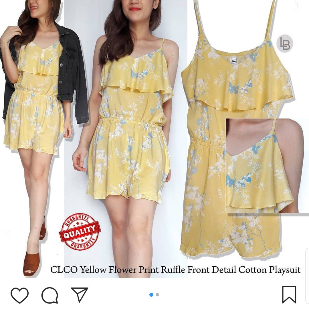 766f3bfe2199 Clothing   Co Yellow Flower Print Ruffle Front Detail Cotton ...