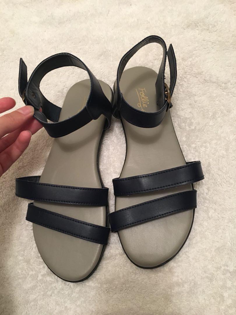 Dark blue flat sandals, Women's Fashion