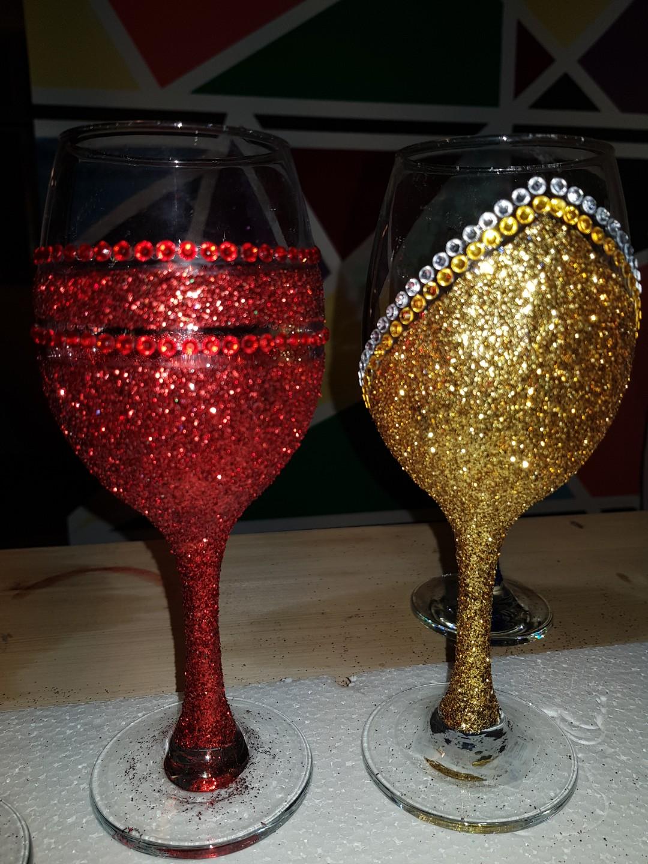 Glitter Wine Glass Design Craft Handmade Craft On Carousell