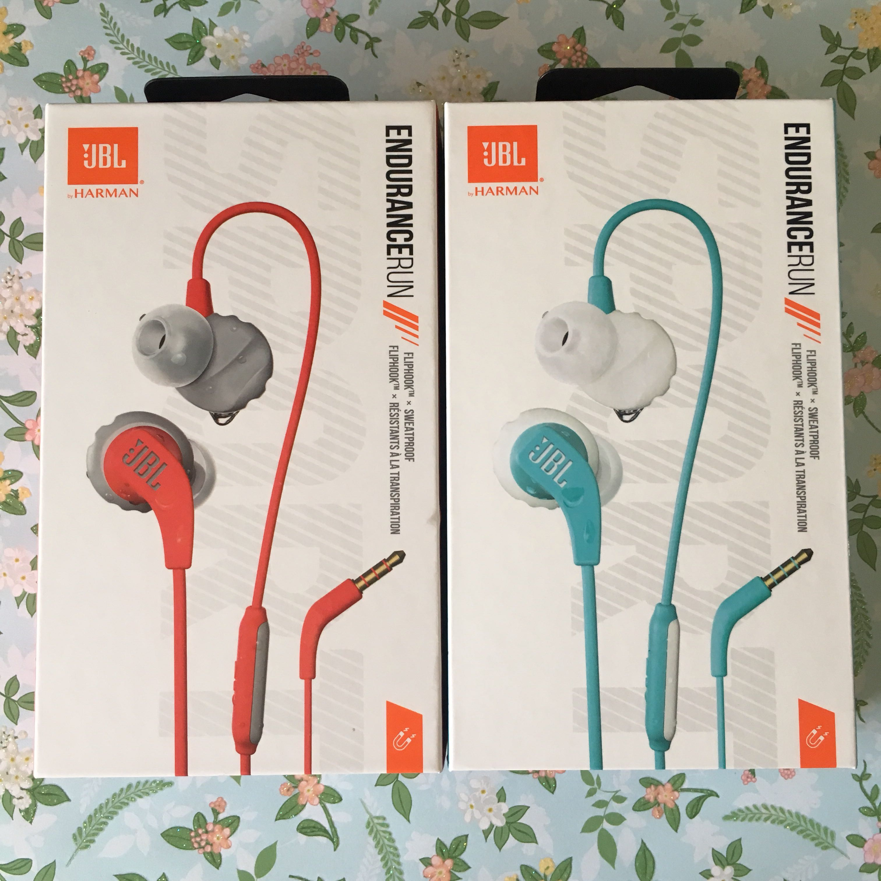 7d7622b3992 JBL Endurance RUN Sweatproof Sports In-Ear Headphones with One-Button  Remote and Microphone (Blue/Red), Electronics, Audio on Carousell