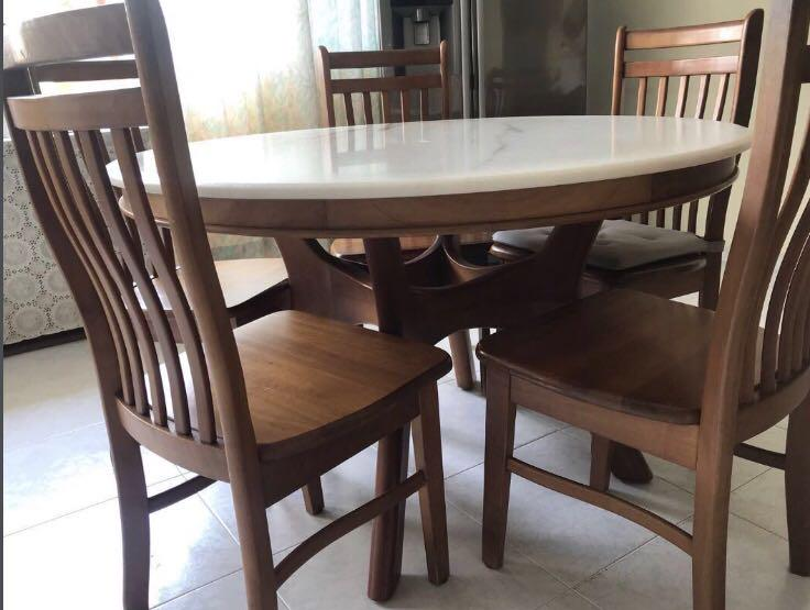 Kopitiam Dining Table Set Marble Top Furniture Tables Chairs On Carousell