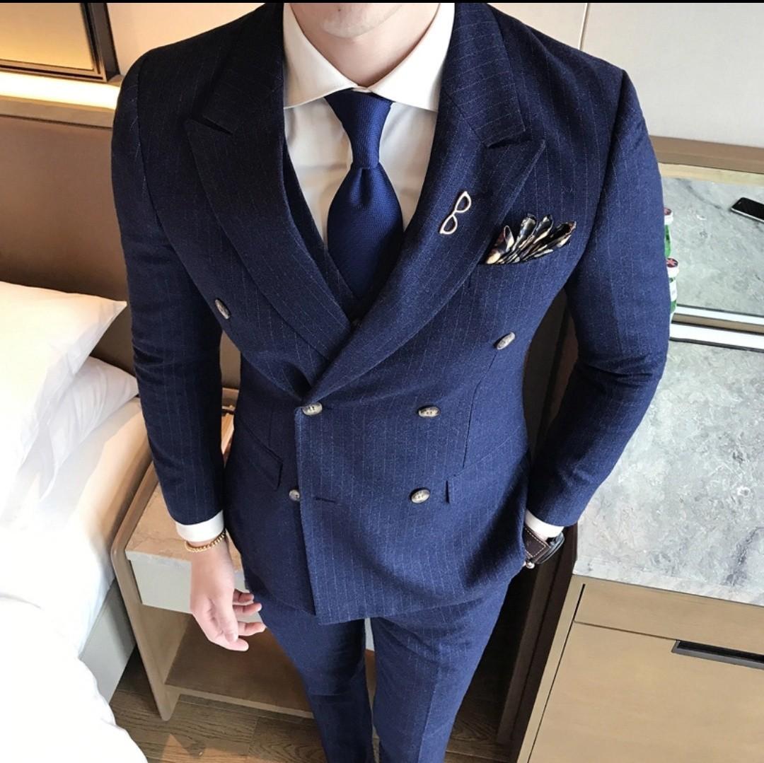 Men blue grey black 2pc suit jacket+pants plaid stripe