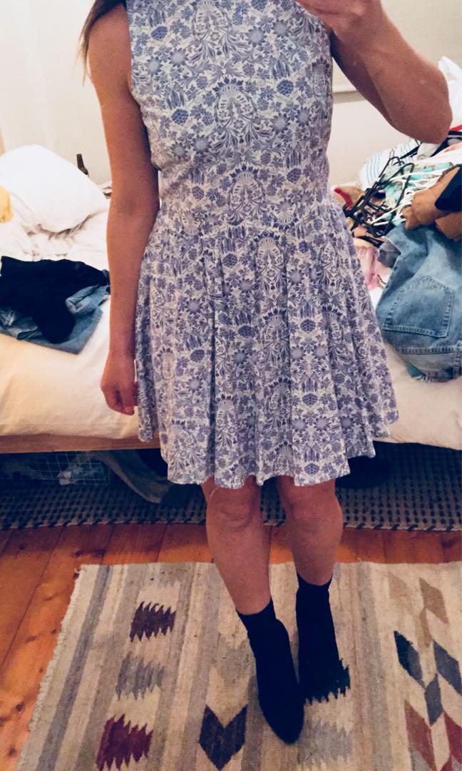 Muui blue white paisley dress