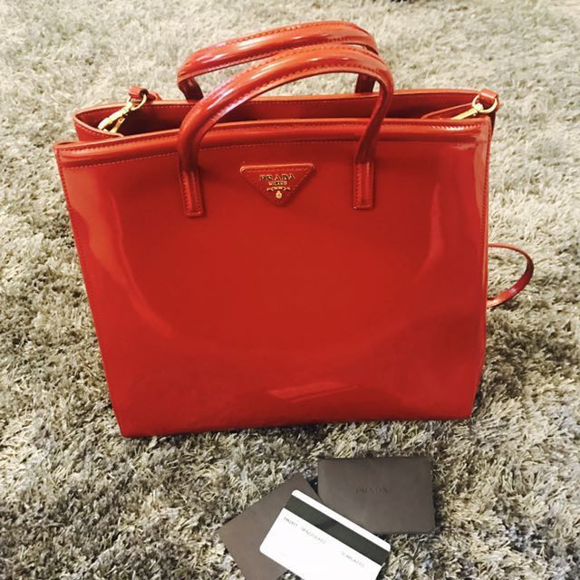 c477952a11d4 free shipping prada red leather bag smells of new leather luxury bags  wallets handbags on carousell