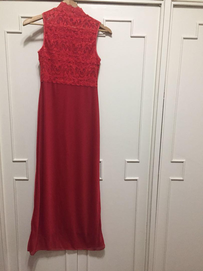 Red long gown w/ turtleneck