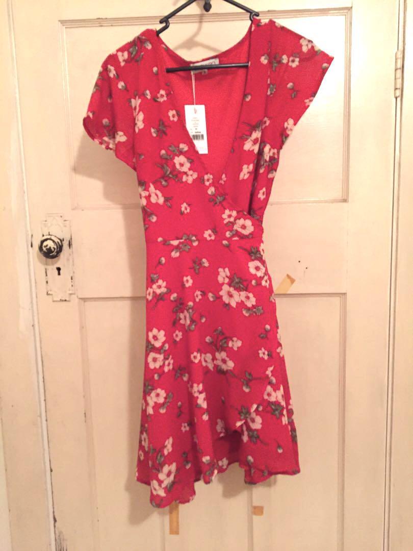 Showpo red floral wrap dress