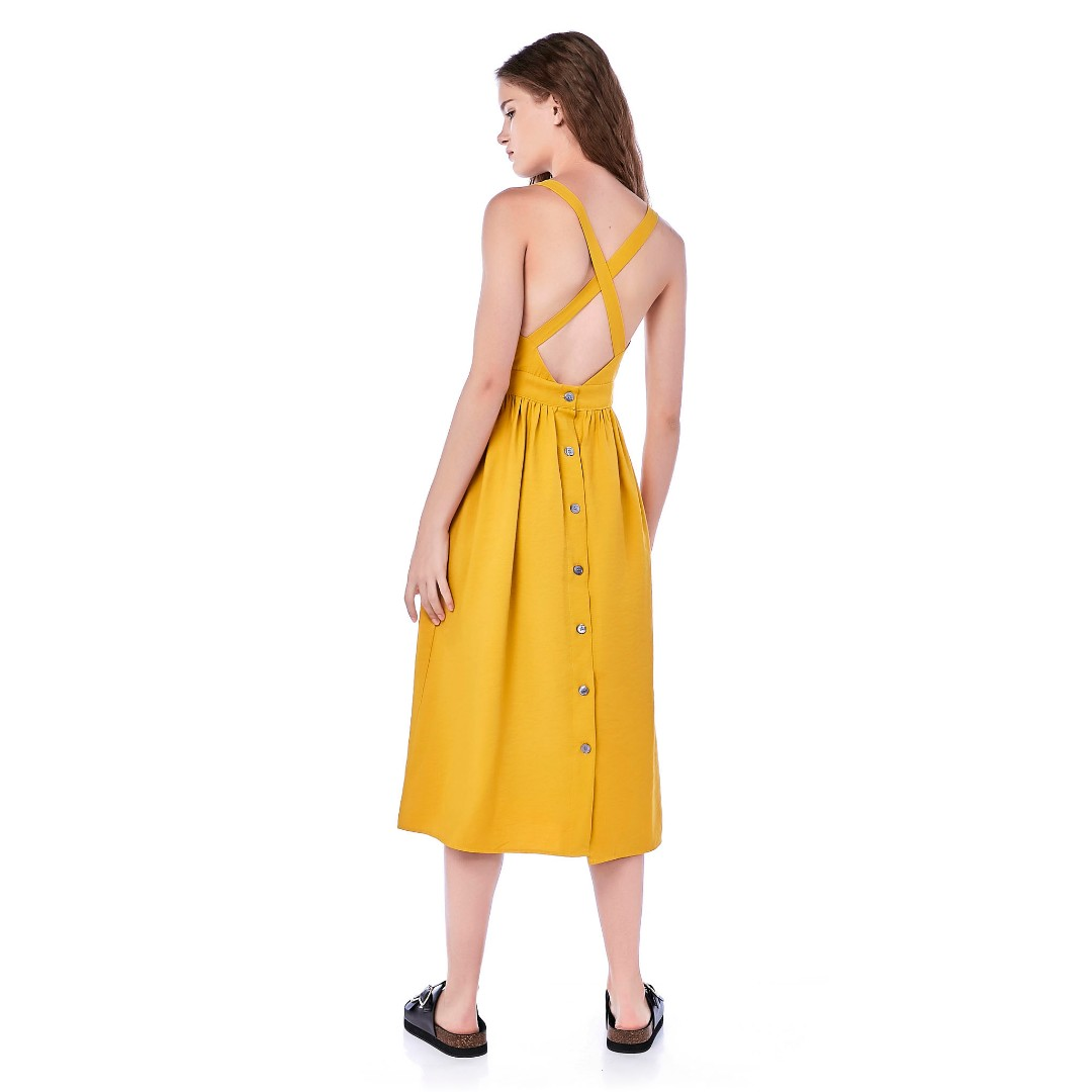 510390f9264 TEM Kyndall Cross Back Midi Dress in Dandelion