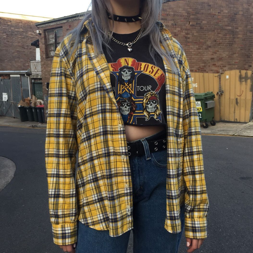 Vintage yellow flannel, Women's Fashion, Clothes on Carousell
