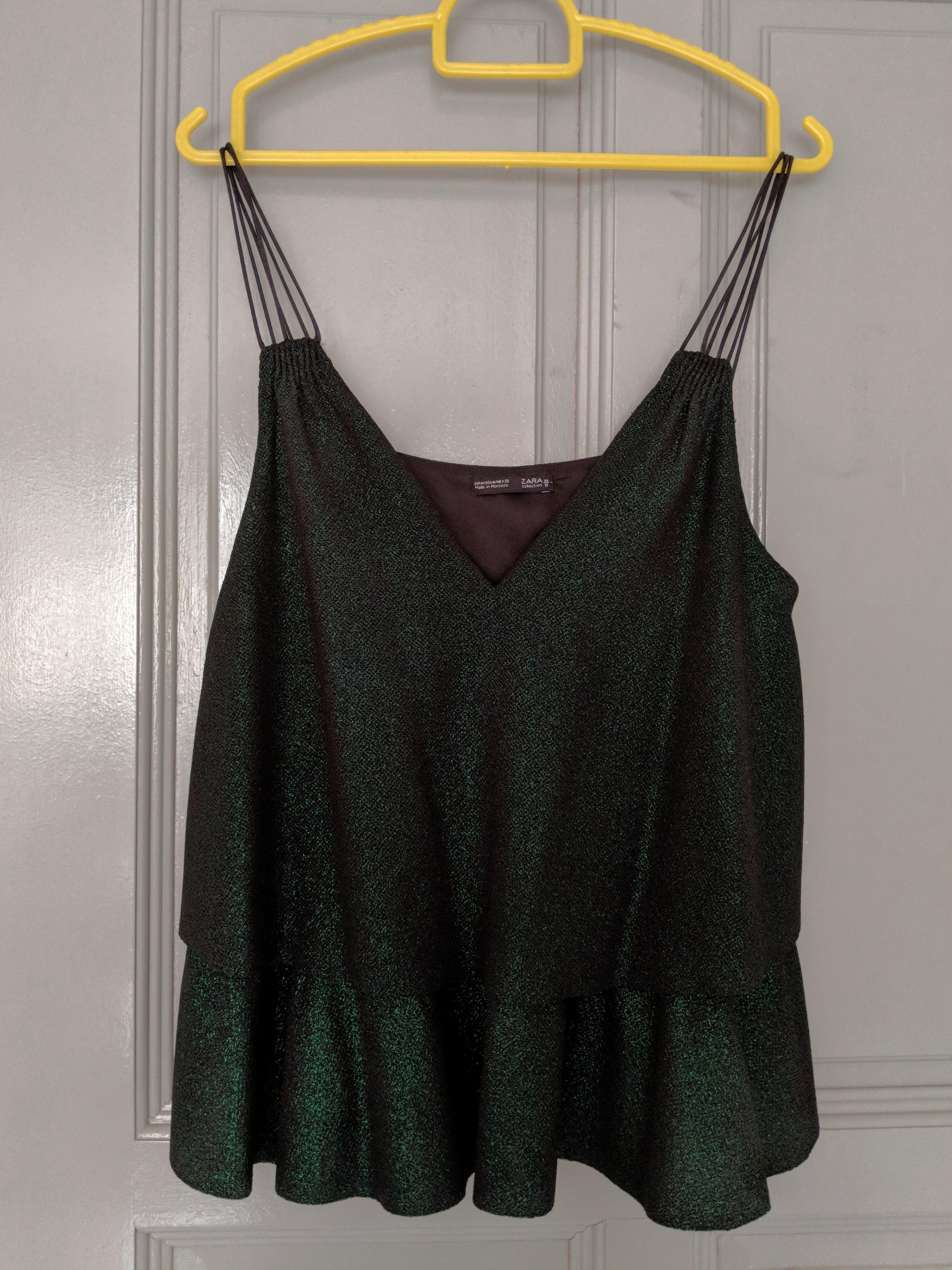 ab8f256c ZARA Emerald green glittery a-line tank top, Women's Fashion ...