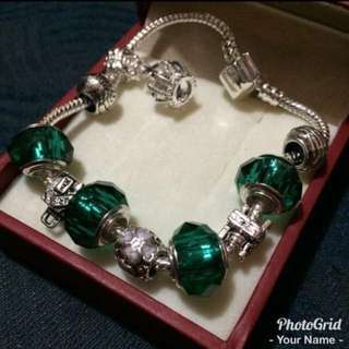 Pandora inspired (silver and emerald green charms)