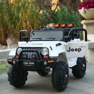 9699 White Mini Jeep Rechargeable Ride On Car Truck 12V
