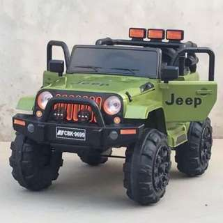 9699 Green Mini Jeep Rechargeable Ride On Car Truck 12V
