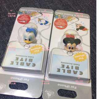 現貨 正版日本迪士尼 Cable Bite iPhone專用咬咬線套 保護線套 充電線套 米奇 蘋果充電線保護套線套