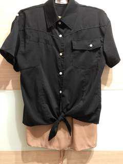 黑色短版綁帶襯衫/罩衫