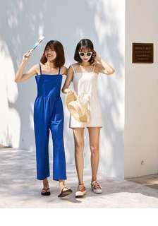 夏季女裝新款杏色吊帶寬鬆連身短褲