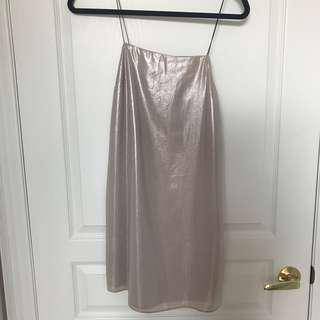 Pink shimmery slip dress