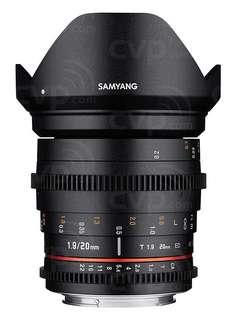 Samyang 20mm T1.9 VDSLR ED AS IF UMC Lens | Samyang Lens Rental