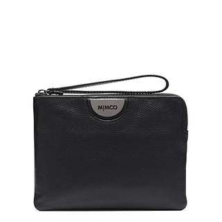 Mimco Echo medium black leather pouch in gunmetal black BNWT