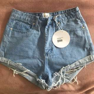 Raised By Wild denim booty shorts