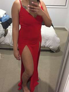 red maxi thigh split gown