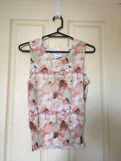 Pink Floral Sleeveless Top