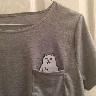 Middle Finger Cat Hidden in Pocket T-shirt/tee/top (Grey)