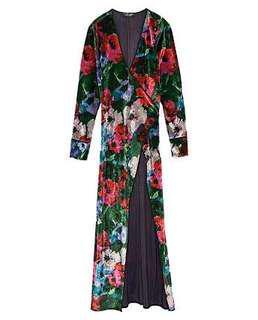 Zara Velvet Floral Kimono Dress