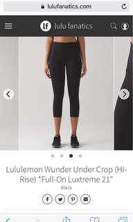 Lululemon Luxtreme Crops High Rise