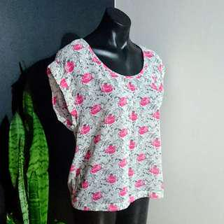 Women's size 12 'JUST JEANS' Gorgeous pink and grey floral print Semi Sheer top
