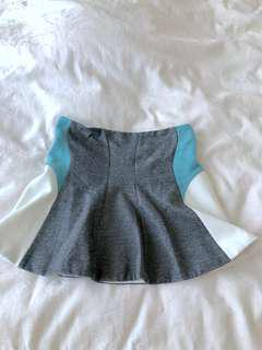 Camilla & Marc Color Block Skater Skirt, AU6, Grey/Teal/White
