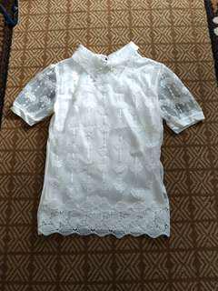 Whitten brukat blouse