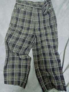 🚚 黑綠格子古著寬褲
