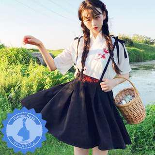 日系原單 兩件式 和風刺繡短袖和服上衣+吊帶裙A字短裙傘裙 套裝和服 U180704 $178 預購 包順豐門市自取