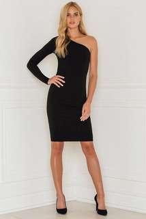 Black Bodycon One Shoulder Long Sleeve Midi Dress