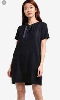 Black suede lace up dress