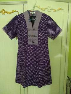 Dress tenun mix polka