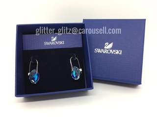 New Genuine Swarovski Galet Blue Earrings 949740 Rrp S