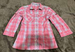 JUST G PINK CHECKERED LONG-SLEEVED POLO